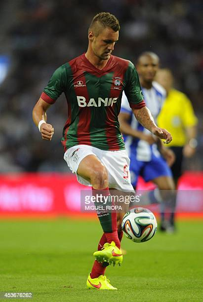 Maritimo's German defender Patrick Bauer controls the ball during the Portuguese league football match FC Porto vs Maritimo at the Dragao Stadium in...
