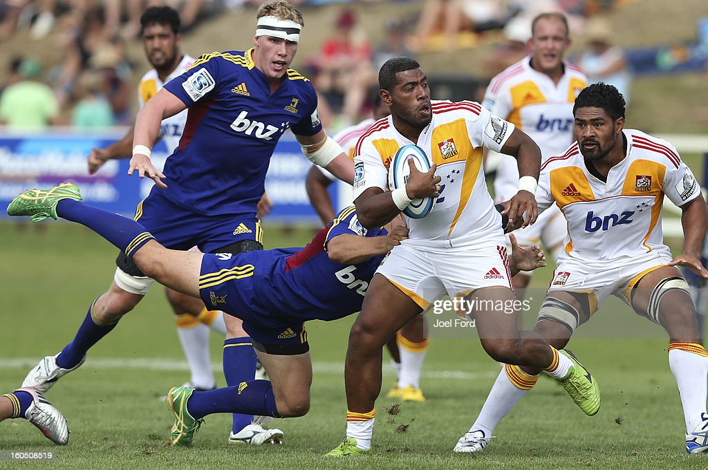 Maritino Nemani of the Chiefs is tackled during the 2013 Super Rugby pre-season friendly match between the Chiefs and the Highlanders at Owen Delany Park, Taupo on February 2, 2013 in Taupo, New Zealand.