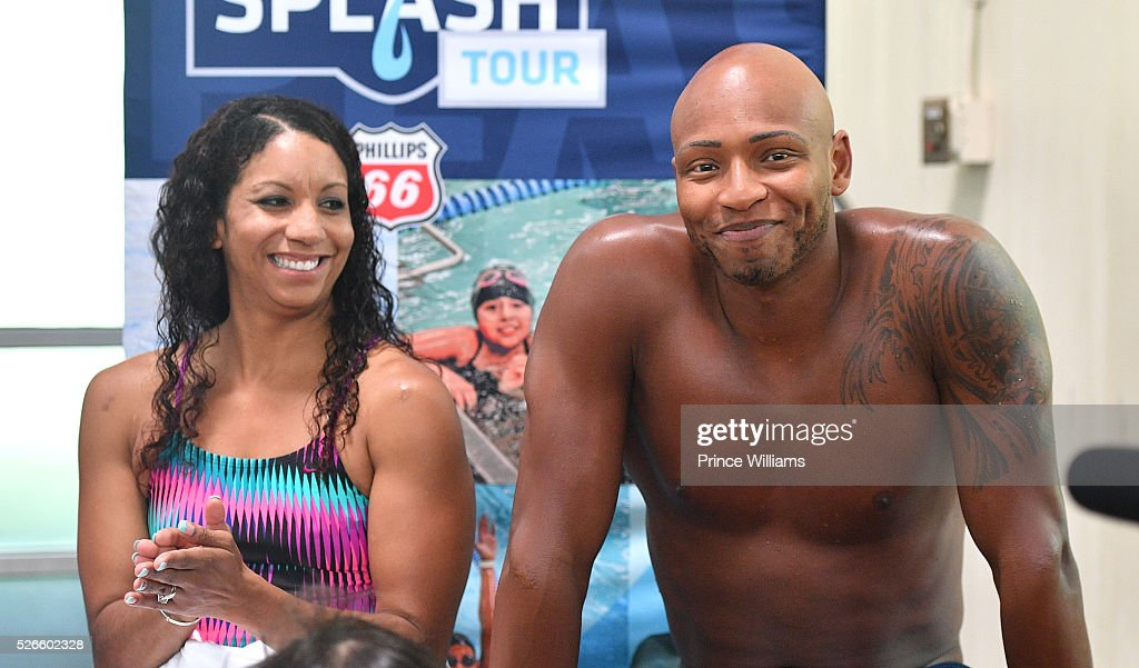 Maritza Correia and Cullen Jones attend water safety and fitness at Carrie Steele Pitts Life Learning Center on April 30, 2016 in Atlanta, Georgia.