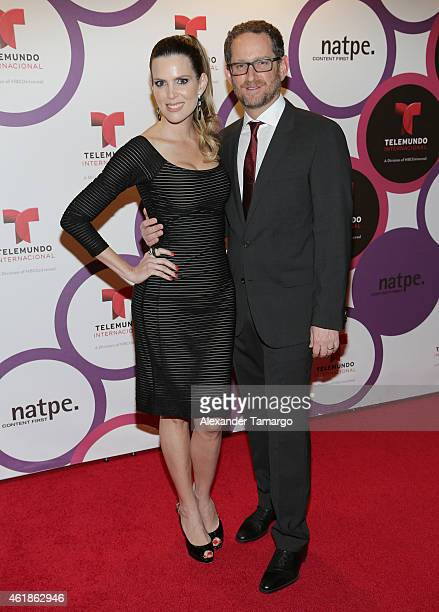 Maritza Rodriguez and Joshua Mintz arrive at Telemundo International Welcome Party during NATPE 2015 at Adrienne Arsht Center on January 20 2015 in...