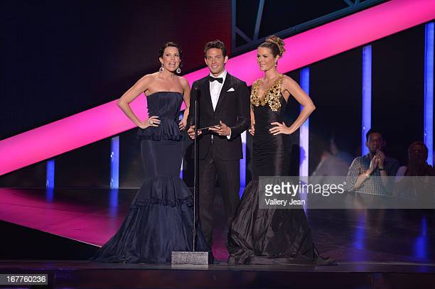 Maritza Rodriguez Gabriel Coronel and Maki on stage at Billboard Latin Music Awards 2013 at Bank United Center on April 25 2013 in Miami Florida