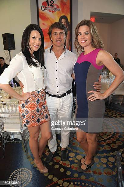 Maritza RodriguezJuan Solar and Sonya Smith attends Telemundo NATPE 2013 Press Conference And Luncheon at Eden Roc Hotel on January 28 2013 in Miami...