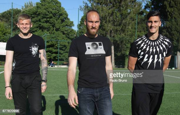 Marius Adamonis Ivan Vargic and Thomas Strakosha look on during the SS Lazio's goalkeepers day on May 3 2017 in Rome Italy