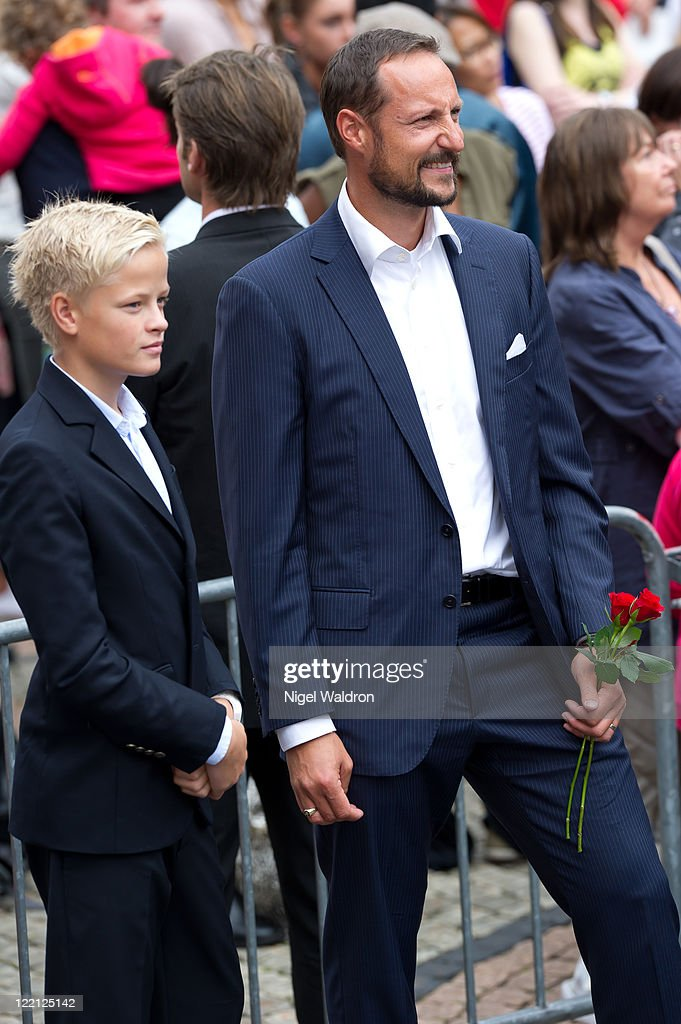 Marius Borg Hoiby and Prince Haakon of Norway attend a celebration on the occasion of the Crown Prince Haakon and Crown Princess Mette-Marit of Norway's 10th wedding anniversary at The University Square on August 25, 2011 in Oslo, Norway.
