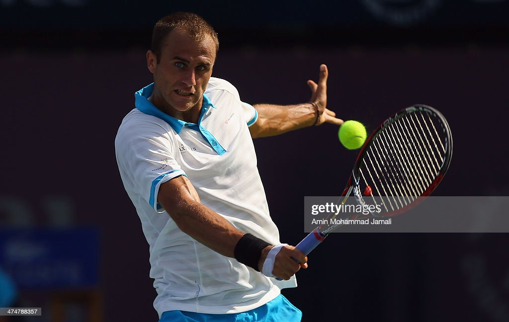 Marius Copil of Romania in action during his first round match against Tomas Berdych of Czech Republic on day 2 of the Dubai Duty Free Tennis ATP Championships on February 25, in Dubai, United Arab Emirates.