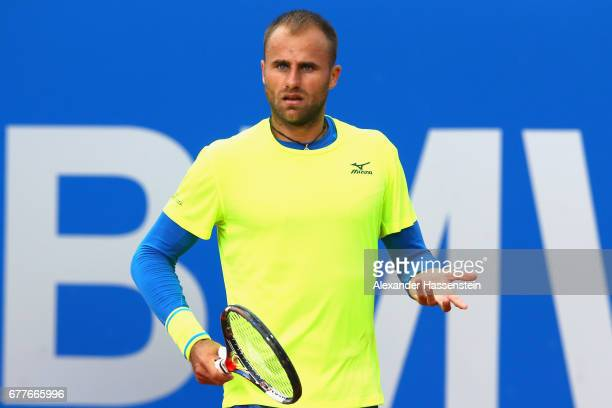 Marius Copil of Rumania reacts during his 2 round match against Marius Copil of Rumania at the 102 BMW Open by FWU at Iphitos tennis club on May 3...