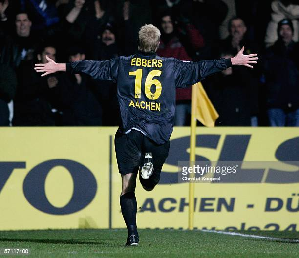 Marius Ebbers of Aachen celebrates his first goal with the fans during the Second Bundesliga match between Alemannia Aachen and Dynamo Dresden at the...