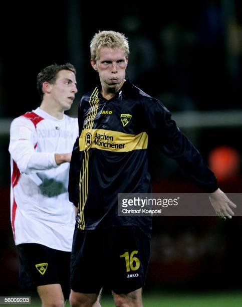 Marius Ebbers of Aachen spits after the DFB German Cup second round match between Alemannia Aachen and Hanover 96 at the Tivoli Stadium October 25...