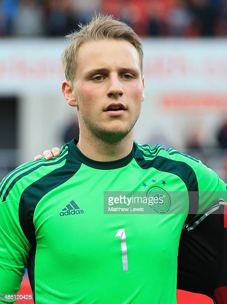 Marius Funk of Germany in action during the Under 18 International Friendly match between England U18 and Germany U18 at The New York Stadium on...