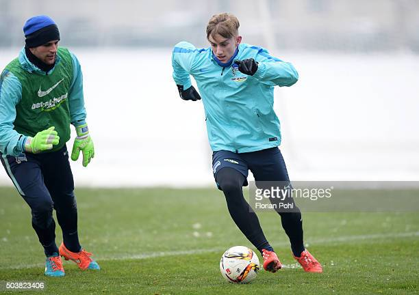Marius Gersbeck and Sinan Kurt of Hertha BSC during the training of Hertha BSC on january 7 2016 in Berlin Germany