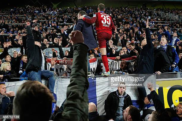 Marius Gersbeck of Hertha celebrates with his fans after victory in the Bundesliga match between Borussia Dortmund and Hertha BSC at Signal Iduna...