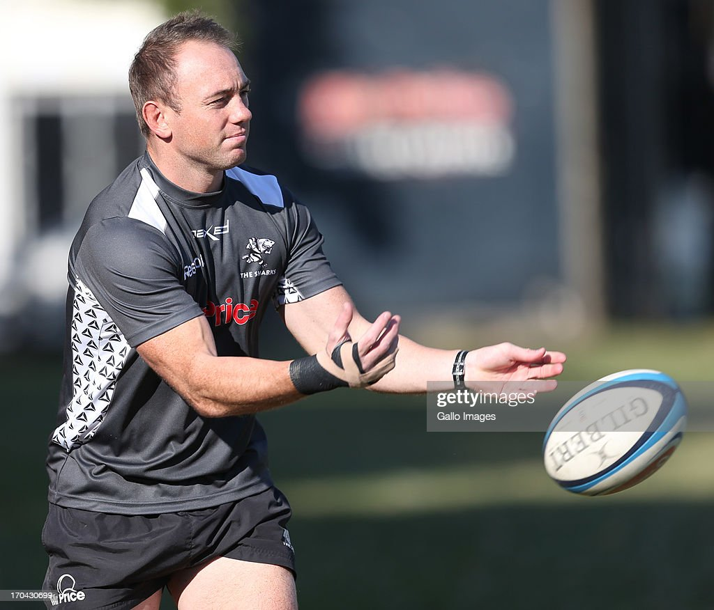 Marius Joubert of the Sharks during The Sharks training session at Growthpoint Kings Park on June 13, 2013 in Durban, South Africa.