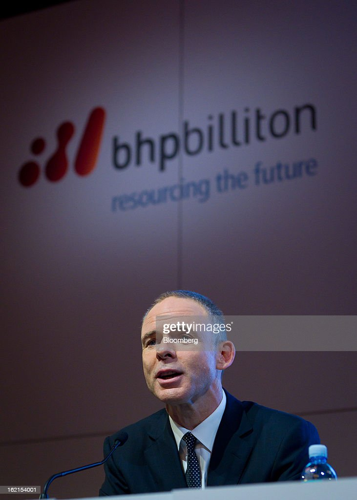 <a gi-track='captionPersonalityLinkClicked' href=/galleries/search?phrase=Marius+Kloppers&family=editorial&specificpeople=4467222 ng-click='$event.stopPropagation()'>Marius Kloppers</a>, chief executive officer of BHP Billiton Ltd., speaks during a news conference in Sydney, Australia, on Wednesday, Feb. 20, 2013. BHP Billiton, the world's biggest mining company, named its copper unit head Andrew Mackenzie as chief executive officer to succeed <a gi-track='captionPersonalityLinkClicked' href=/galleries/search?phrase=Marius+Kloppers&family=editorial&specificpeople=4467222 ng-click='$event.stopPropagation()'>Marius Kloppers</a> before reporting a 58 percent decline in first-half profit. Photographer: Ian Waldie/Bloomberg via Getty Images