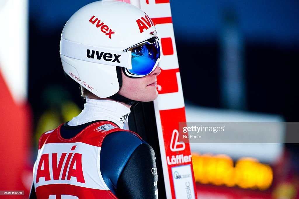 Marius Kraus after his jump at the Large Hill Individual competition on day two of the FIS Ski Jumping World Cup on February 8 2015 in Titisee Germany
