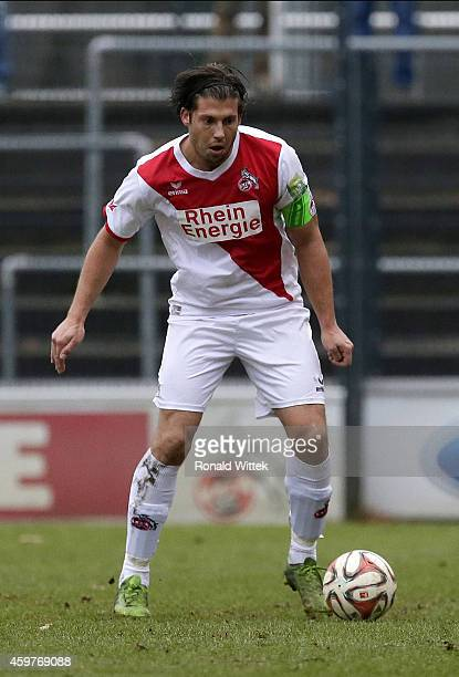 Marius Laux of Koeln runs with the ball during the Regionalliga West match between 1 FC Koeln II and RotWeiss Essen at FranzKremerStadion on November...