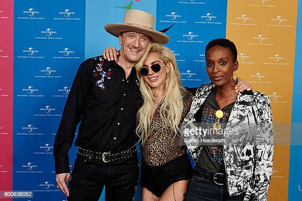 Marius MuellerWesternhagen Lady Gaga and Lindiwe Suttle pose for a photo during Universal Inside 2016 organized by Universal Music Group at...