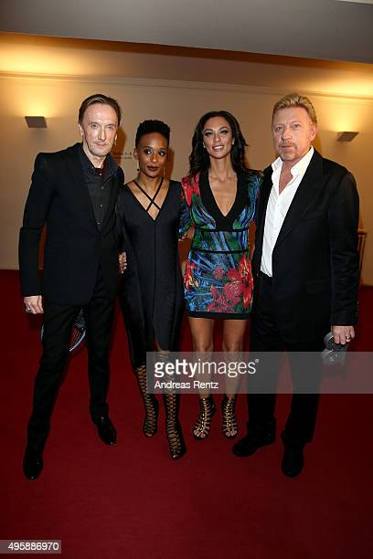 Marius MuellerWesternhagen Lindiwe Andrea Suttle Lilly Becker and Boris Becker pose at the GQ Men of the year Award 2015 show at Komische Oper on...