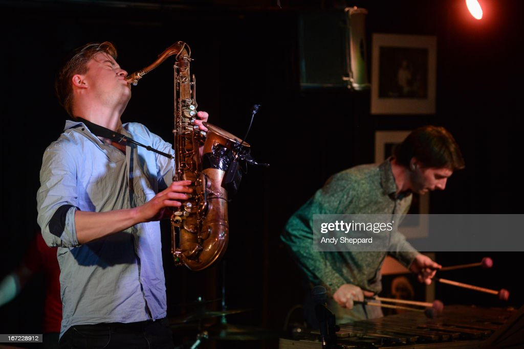 Marius Neset and Jim Hart perform on stage at Pizza Express Jazz Club on April 22, 2013 in London, England.