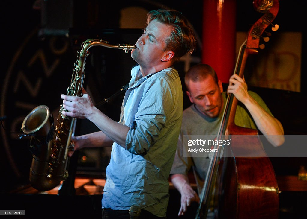 Marius Neset and Petter Eldh perform on stage at Pizza Express Jazz Club on April 22, 2013 in London, England.