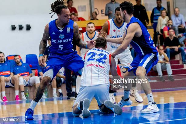 Marius Runkauskas and Deven Mitchell during the LNBM Men's National Basketball League game between CSM Steaua Bucharest and BC Mures TarguMures at...