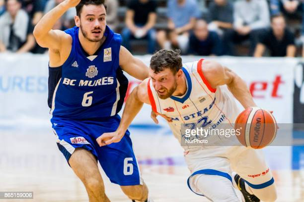Marius Runkauskas and Norbert Steff during the LNBM Men's National Basketball League game between CSM Steaua Bucharest and BC Mures TarguMures at...