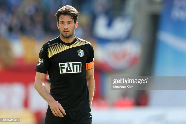 Marius Sowislo of Magdeburg looks on during the third league match between FC Hansa Rostock and 1FC Magdeburg at Ostseestadion on April 15 2017 in...