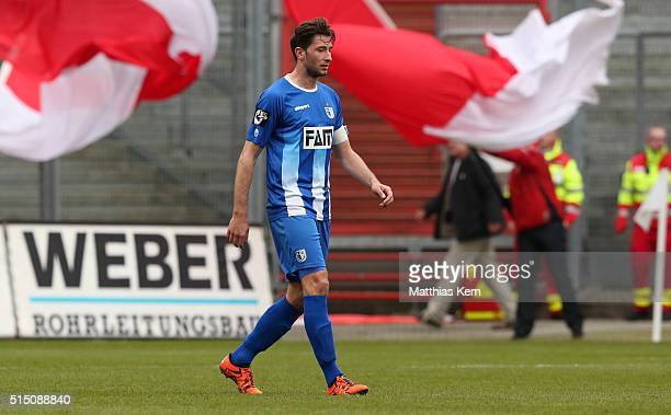 Marius Sowislo of Magdeburg shows his frustration after loosing the third league match between FC Energie Cottbus and 1FC Magdeburg at Stadion der...