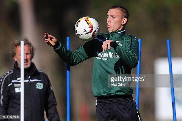 Marius Wolf controles the ball during a Hannover 96 training session on day 4 of the Bundesliga Belek training camps at Cornelia Sports Center on...