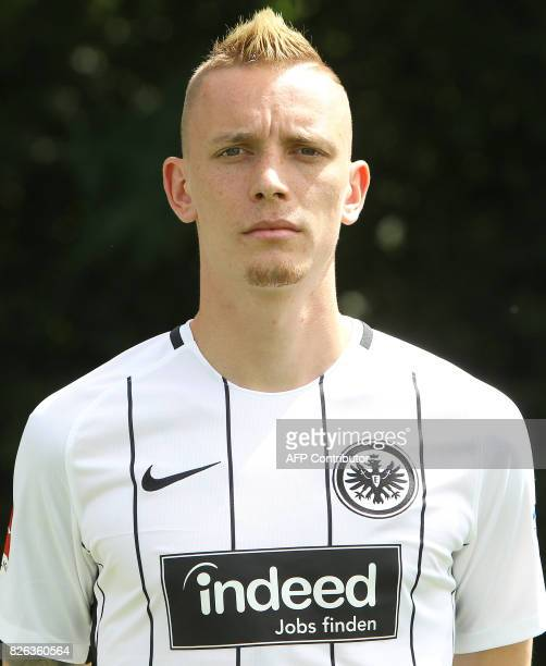 Marius Wolf from German first division Bundesliga football team Eintracht Frankfurt poses for a photo in Frankfurt Germany on August 4 2017 / AFP...