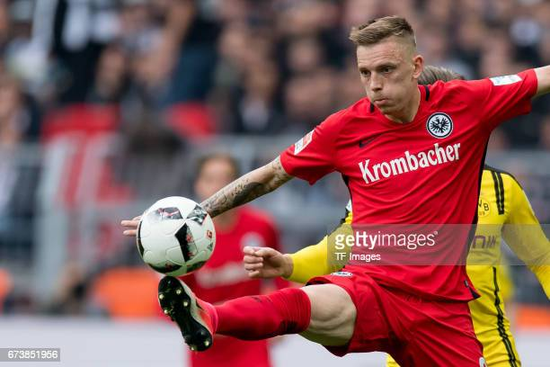 Marius Wolf of Frankfurt controls the ball during the Bundesliga match between Borussia Dortmund and Eintracht Frankfurt at Signal Iduna Park on...