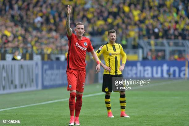 Marius Wolf of Frankfurt gestures during the Bundesliga match between Borussia Dortmund and Eintracht Frankfurt at Signal Iduna Park on April 15 2017...