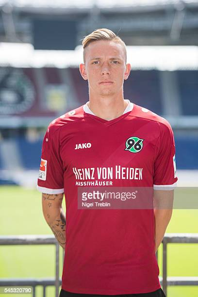 Marius Wolf poses during the team presentation of Hannover 96 on July 7 2016 in Hanover Germany