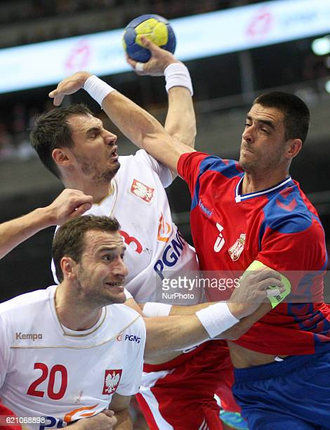 Mariusz Jurkiewicz Krzysztof Lijewski Zarko Sesum in action during the 2018 Men's European Championship Qualification match between Poland v Serbia...