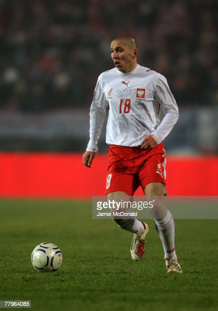 Mariusz Lewandowski of Poland in action during the Euro2008 Group A Qualifier between Poland and Belgium on November 17 2007 at the Slaski Stadium in...