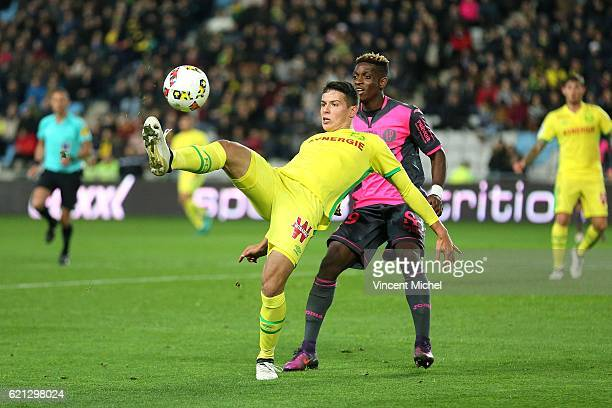 Mariusz Stepinski of Nantes and François Moubandje of Toulouse during the Ligue 1 match between Fc Nantes and Toulouse Fc at Stade de la Beaujoire...