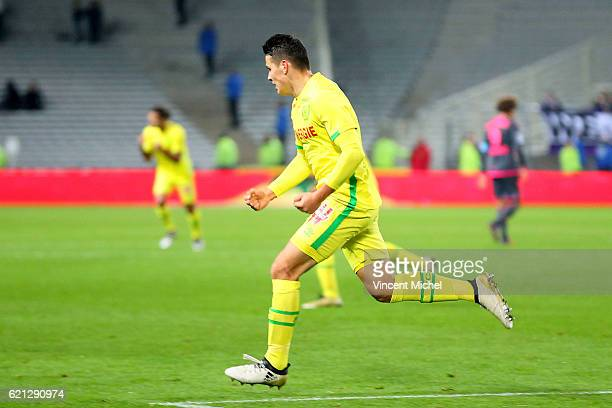 Mariusz Stepinski of Nantes celebrates as he scores a goal to make 11 during the Ligue 1 match between Fc Nantes and Toulouse Fc at Stade de la...