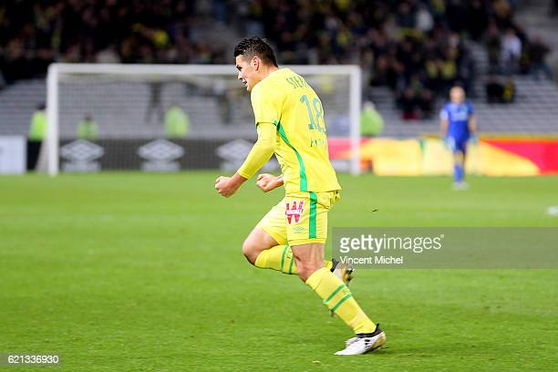 Mariusz Stepinski of Nantes celebrates during the Ligue 1 match between Fc Nantes and Toulouse Fc at Stade de la Beaujoire on November 5 2016 in...
