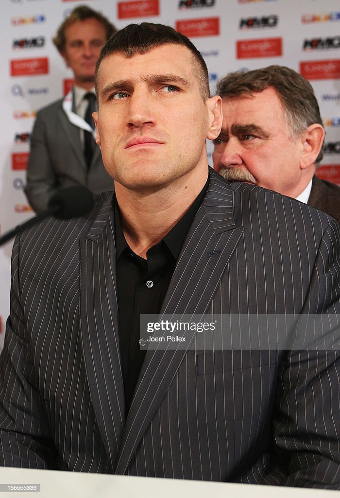 Mariusz Wach of Poland is pictured during a press conference with Wladimir Klitschko and Mariusz Wach ahead of their upcoming boxing fight at Google...