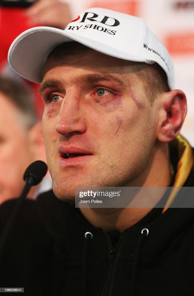 Mariusz Wach of Poland is seen during the press conference after the WBA IBF WBO and IBOheavy weight title fight between Wladimir Klitschko of...