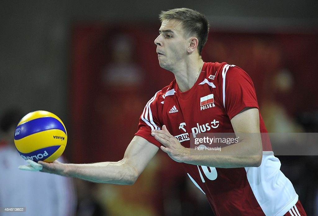 Mariusz Wlazly of Poland serves the ball during the FIVB World Championships match between Australia and Poland on September 2, 2014 in Wroclaw, Poland.