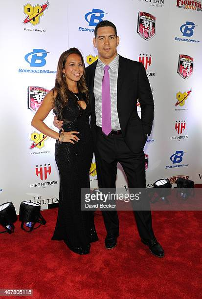 Marivi Weidman and her husband UFC Middleweight Champion Chris Weidman arrive at the sixth annual Fighters Only World Mixed Martial Arts Awards at...