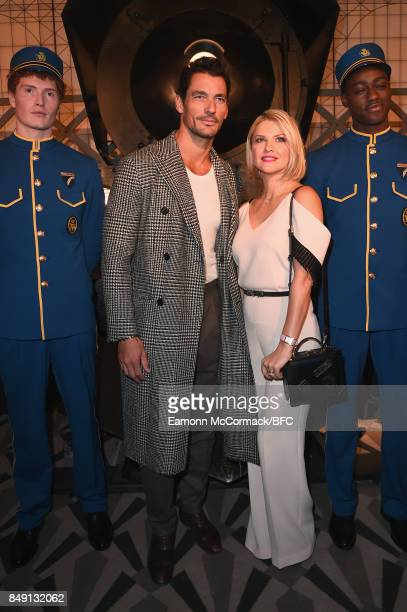Mariya Dykalo and David Gandy attend the Aspinal of London presentation during London Fashion Week September 2017 on September 18 2017 in London...