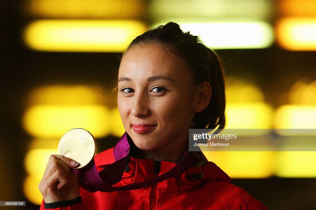 Mariya Ponomaryova of Russia poses with The Women's 20km Race Walk gold medal on day three of the European Athletics U23 Championships at Kadriorg...