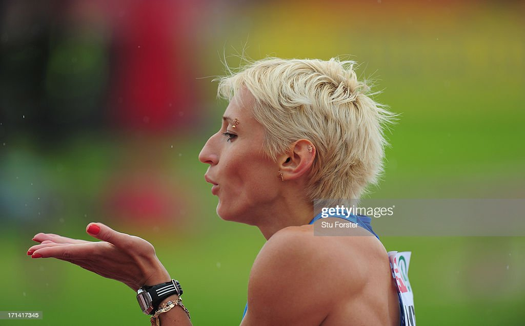 Mariya Ryemyen of Ukraine blows a kiss after winning the womens 200 metres heat during day two of the European Athletics Team Championships at Gateshead International Stadium on June 23, 2013 in Gateshead, England.