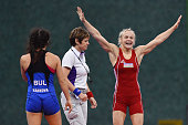 Mariya Stadnyk of Azerbaijan celebrates victory over Elitsa Yankova of Bulgaria in the Women's Freestyle 48kg Wrestling Final during day three of the...