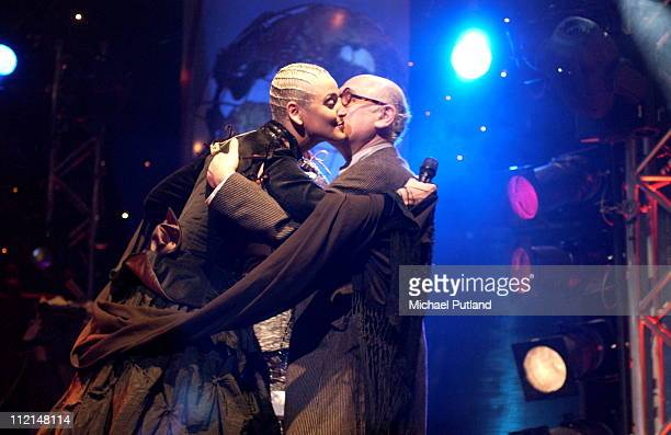 Mariza receives an award from Michael Nyman at Radio 3 World Music Awards Concert Ocean Hackney London 24 March 2003
