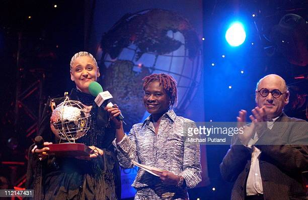 Mariza receives an award from Rita Ray and Michael Nyman at Radio 3 World Music Awards Concert Ocean Hackney London 24 March 2003