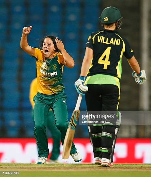 Marizanne Kapp of South Africa appeals and gets the wicket of Ellyse Perry of Australia during the Women's ICC World Twenty20 India 2016 Group A...