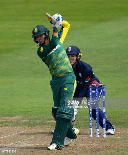 Marizanne Kapp of South Africa bats during the ICC Women's World Cup 2017 SemiFinal match between England and South Africa at The County Ground on...
