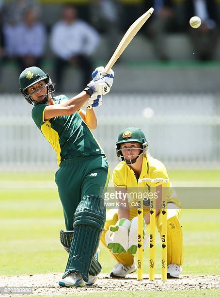 Marizanne Kapp of South Africa bats during the women's tour match between the Governer General's XI and South Africa at Drummoyne Oval on November 13...